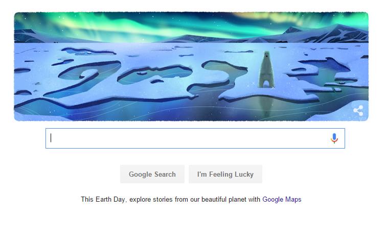 Gấu trắng Bắc Cực trong doodle của Google ngày 22/4/2016