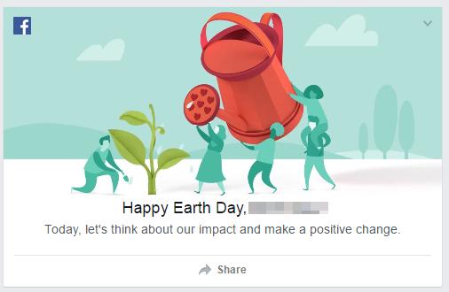 Không chỉ Google, Facebook cũng nhắc nhở người dùng về ngày Trái đất 22/4
