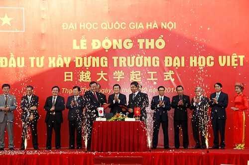 Lễ động thổ trường xây dựng Đại học Việt Nhật, tháng 12/2014