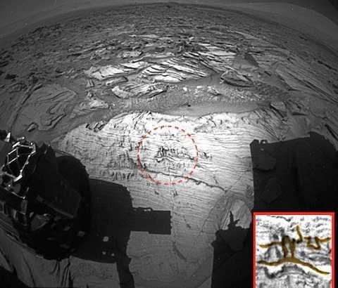 Bức ảnh của NASA cho thấy hình ảnh một người đàn ông và một con rắn khắc trên đá ở sao Hỏa. Ảnh Dailymail