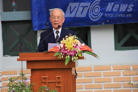 Đại tá Nguyễn Lư trong buổi lễ phát động xây dựng Nhà tưởng niệm tri ân các anh hùng liệt sỹ mặt trận Vị Xuyên