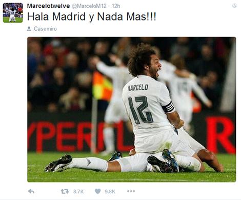 Marcelo thì đơn giản hơn, chỉ cần Hala Madrid