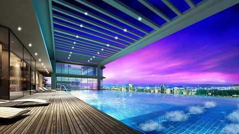 Bể bơi từ tầng cao nhất của toà nhà