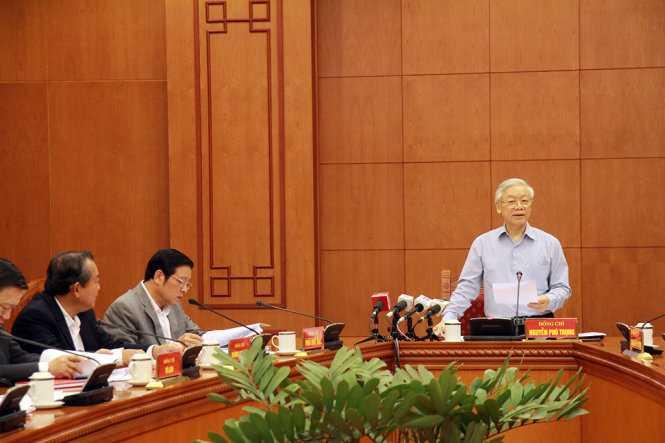 Tổng Bí thư Nguyễn Phú Trọng, Trưởng Ban Chỉ đạo Trung ương về phòng, chống tham nhũng phát biểu kết luận cuộc họp - Ảnh: Thu Huyền