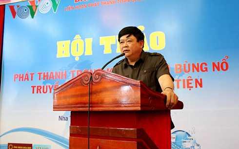 Ông Nguyễn Thế Kỷ, Tổng giám đốc Đài TNVN, Trưởng ban chỉ đạo LHPT lần thứ XII phát biểu ý kiến tại hội thảo.