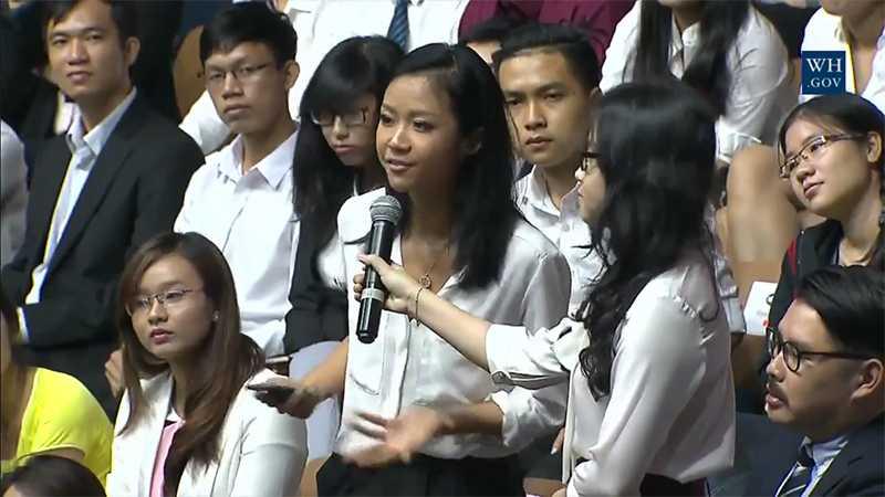 Suboi là người cuối cùng đặt câu hỏi cho Tổng thống Obama