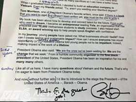 Bản nháp bài phát biểu của MC Ngọc Tú được Tổng thống Obama ký tên