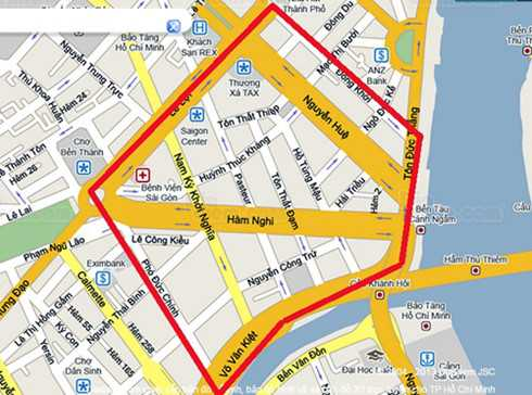Vành đai cấm đường có màu đỏ, các phương tiện sẽ không được di chuyển trên các tuyến đường này từ 20h tối 30/4 đến 5h sáng 1/5.