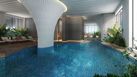 Bể bơi bốn mùa khoáng mặn tại tầng 5 tòa tháp EcoLife Capitol