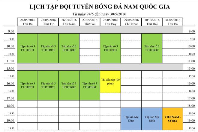 Lịch tập luyện dự kiến của tuyển Việt Nam.