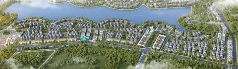 Toàn cảnh khu biệt thự sinh thái Vinhomes Thăng Long với 10ha hồ điều hòa và hệ thống cảnh quan, vườn bốn mùa, bể bơi xanh mát
