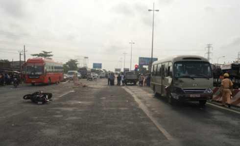 Hiện trường một vụ tai nạn giao thông (ảnh: KT)