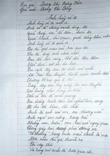 Trước hành vi chạy trốn của Dương Chí Dũng, người em gái ông ta đã viết tâm thơ mong ông Dũng quay về.