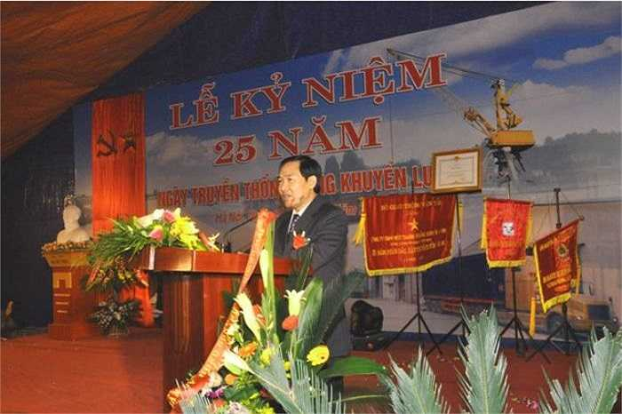 Dương Chí Dũng phát biểu tại một lễ kỉ niệm khi là Chủ tịch HĐQT, TGĐ Vinalines.