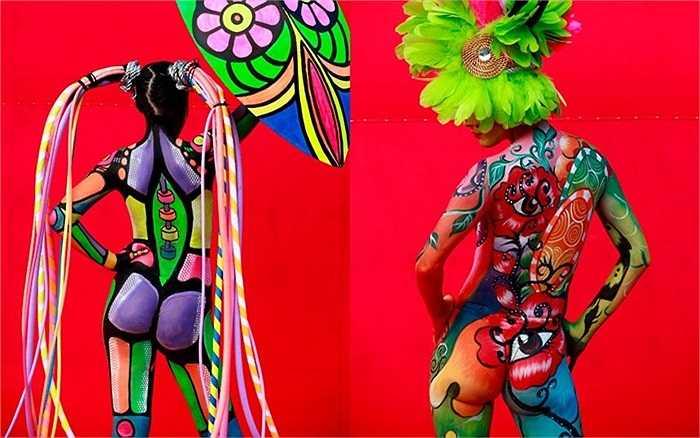 Những tuyệt tác trong Lễ hội Quốc tế Vẽ tranh trên cơ thế người diễn ra ở thành phố Daegu, Hàn Quốc.