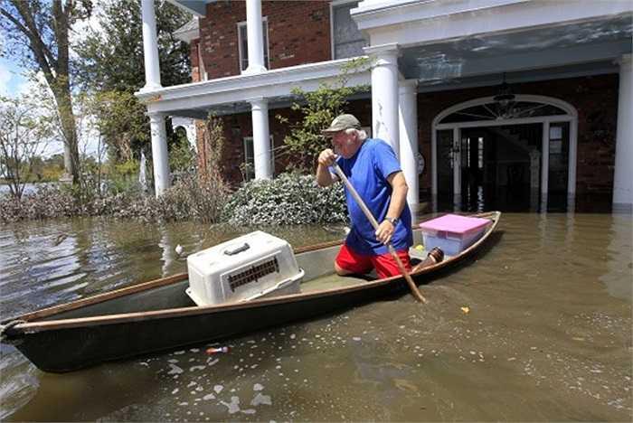 Người đàn ông chèo thuyền chở mèo và váy phù dâu cho đám cưới của con trai sau khi căn nhà của ông bị ngập do mưa lớn ở Mỹ