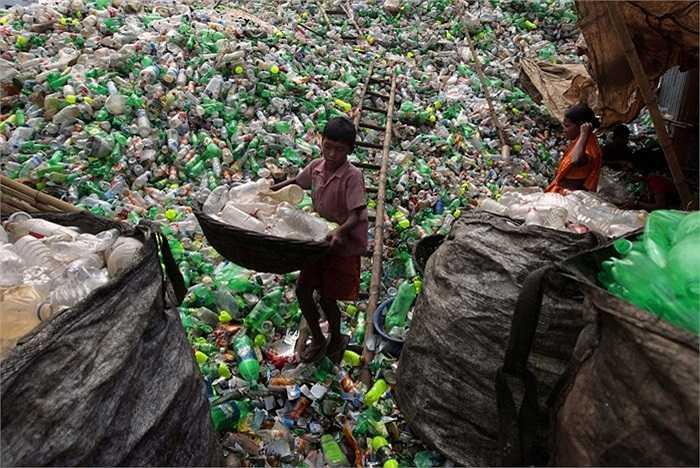 Lao động trẻ em trong trung tâm xử lý chai lọ nhựa ở Dhaka,Bangladesh