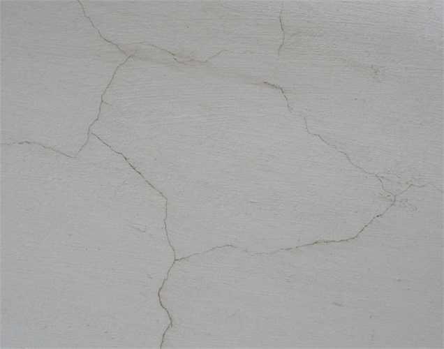 Các vết nứt dày đặc, tạo thành một lớp màng nhện trên tường
