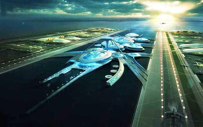 Bản phối cảnh dự án xây dựng sân bay quốc tế trên sông Thames, London, Anh