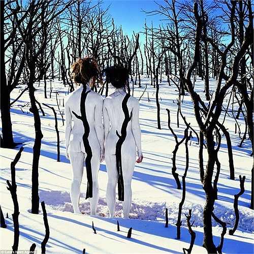Hai người nude trong rừng cây tự nhiên