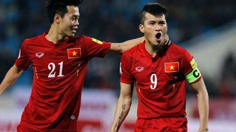 Công Vinh ăn mừng bàn thắng vào lưới Đài Loan