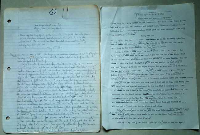 Trang đầu bản viết tay và đánh máy dịch tiếng Anh của cuốn bản thảo Nhật ký Đặng Thùy Trâm