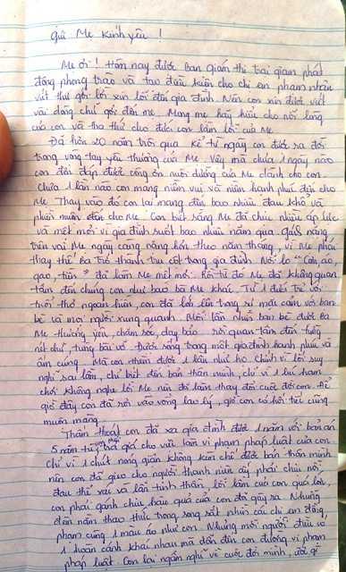 Nội dung bức thư Loan viết để xin lỗi mẹ và gia đình
