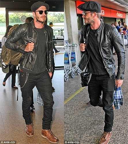 Beckham nam tính với cách phối đồ khá bụi