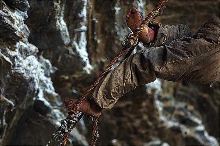 Làm thợ săn ong đồng nghĩa với việc phồng rát bàn chân, bị ong đốt thậm chí là tóe máu vì đứng nhiều giờ trên thang dây