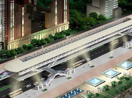 Mô hình phối cảnh nhà ga Long Biên trên tuyến đường sắt đô thị số 1.