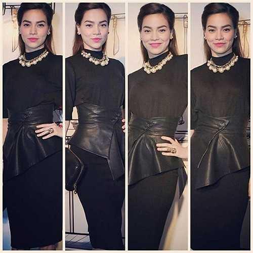 Hà Hồ trở thành biểu tượng mặc đẹp của showbiz Việt nhờ những điểm nhấn cá tính đi kèm trang phục. Thắt lưng peplum tạo điểm nhấn cá tính cho bộ trang phục tông đen.
