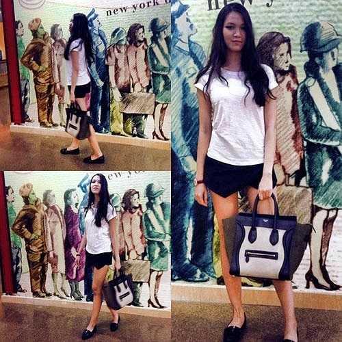 Hoa hậu Thùy Dung cũng sắm cho mình chiếc skort màu đen. Người đẹp khéo léo mix cùng áo phông trắng đơn giản cùng phụ kiện màu đen cùng tông, rất hợp xu hướng. (Theo Đời sống pháp luật)