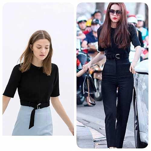 Đầu năm, Hà Hồ đã khiến các tín đồ thời trang phải xôn xao và tìm mua bằng được chiếc áo đen Zara có thiết kế lạ mà cô nàng đã diện khi ra Hà Nội dịp Tết nguyên đán 2014. Được biết chiếc áo này có giá khoảng 1,3 triệu đồng.