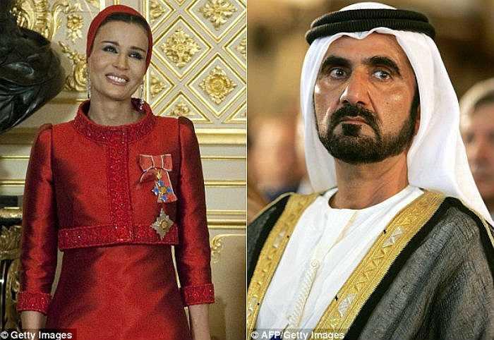 Thành viên hai hoàng gia thuộc nhóm giàu nhất thế giới là Qatar (trái) và Dubai đang đối đầu nhau trong cuộc chiến trả giá để sở hữu tấm biển quảng cáo đắt tiền này.