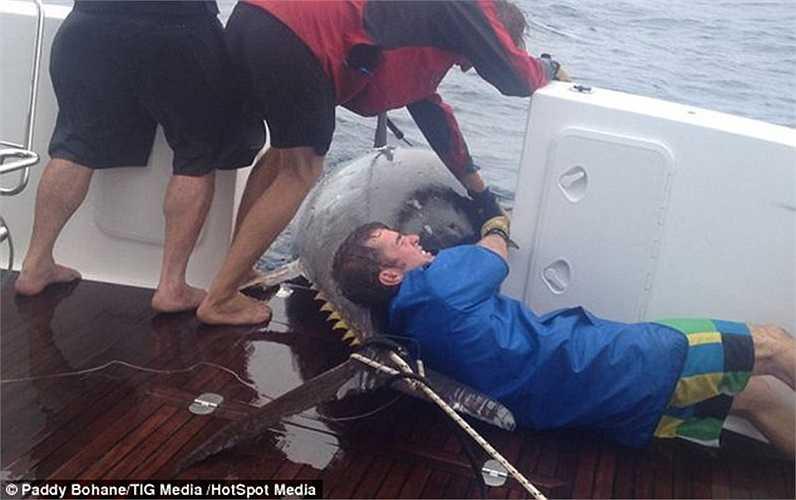 Donna và các đồng nghiệp đã phải vật lộn 4 giờ trước khi kéo được con cá lên sàn tàu