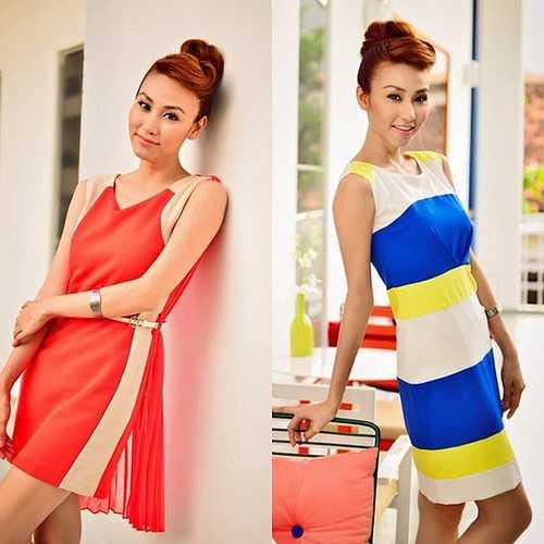 Hình tượng nữ ca sỹ diễn viên Ngân Khánh gần đây trong mỗi shot hình là người phụ nữ đẹp trong những bộ váy màu sắc rực rỡ. Lúc tươi trẻ trong váy color block xanh vàng trắng, đỏ cam