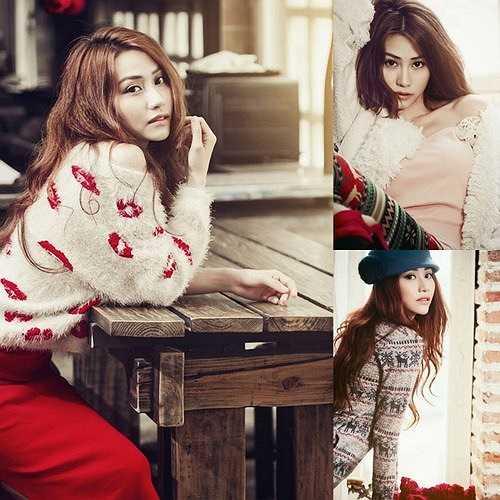 Ngân Khánh rất hợp với những chiếc áo len, váy len họa tiết xinh yêu nhẹ nhàng như thế này.