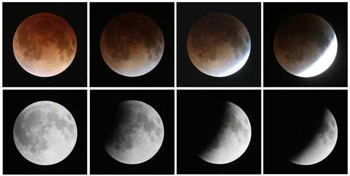 Chùm ảnh cận cảnh quá trình biến đổi kỳ ảo của mặt trăng (từ trái qua phải hàng dưới đến từ trái qua phải hàng trên).