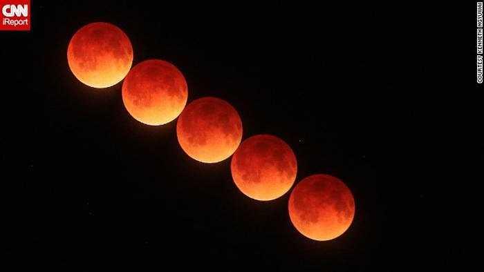Một hình ảnh ấn tượng qua góc máy của độc giả Kenneth Ngyuwai đã ghi lại màu đỏ máu vô cùng ấn tượng của mặt trăng ở Port Orange, Florida.
