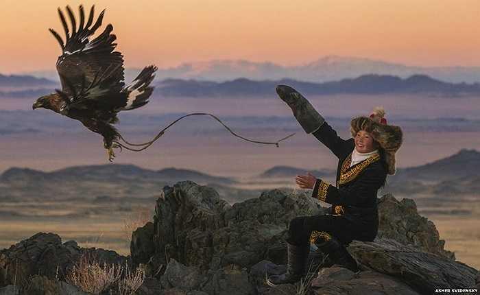 Việc đi săn bắt đầu với những ngày rong ruổi trên lưng ngựa qua lớp tuyết trên núi, hoặc triền đá để chú chim có thể quan sát được xa hàng km