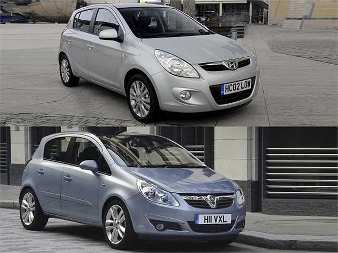 Hyundai i20 và Vauxhall Corsa sở hữu nhiều nét tương tự dù khác quốc tịch, khác thương hiệu