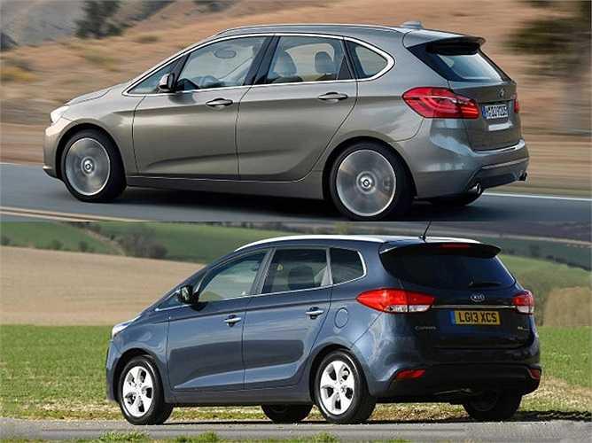 BMW 2 Series Active Tourer không chỉ giống Honda FR-V mà còn tương tự với cả Kia Carens.