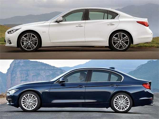 Infiniti Q50 và BMW 3 Series là hai mẫu xe giống nhau trong phân khúc sedan hạng sang