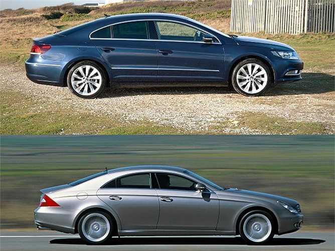 Khác thương hiệu nhưng hai mẫu xe Đức Mercedes-Benz CLS và Volkswagen CC khá giống nhau