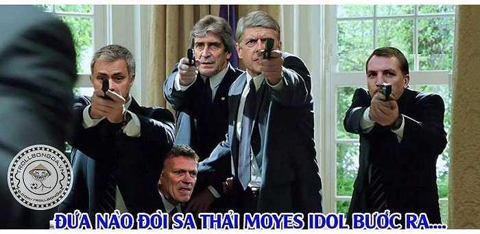 Bức ảnh chế vui về việc 4 HLV: Mourinho, Pellegrini, Wenger, Rodgers quyết tâm không để Moyes bị đuổi việc
