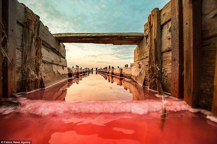 Làn nước màu đỏ đối lập với bầu trời xanh cùng các mảnh gỗ cũ kỹ đã tạo nên vẻ đẹp của bức ảnh
