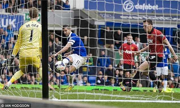 Mọi hi vọng vào chiến thắng của Man Utd gần như chấm dứt ở phút thứ 43. Mirallas có cú dứt điểm quyết đoán, một lần nữa, De Gea phải vào lưới nhặt bóng