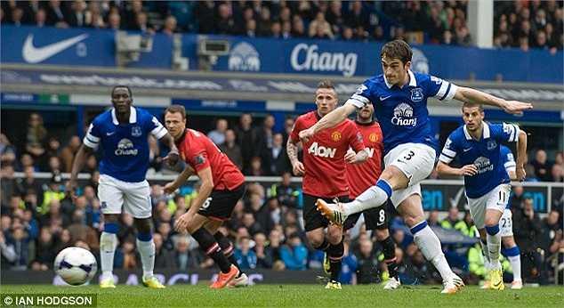 Leighton Baines không mấy khó khăn để hạ gục David De Gea trên chấm penaly. 1-0 cho Everton ở phút thứ 28