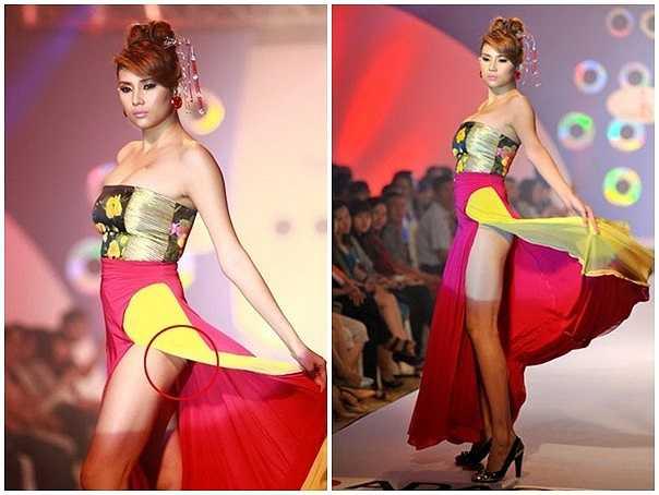 Trong một buổi diễn do mải mê thực hiện động tác hất tà váy, vòng 3 của Hoàng Yến bị phơi bày lộ liễu trước hàng trăm khán giả.