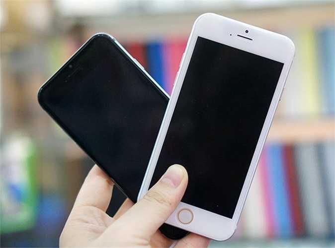 Mô hình iPhone 6 màu trắng đọ dáng với bản màu xám.